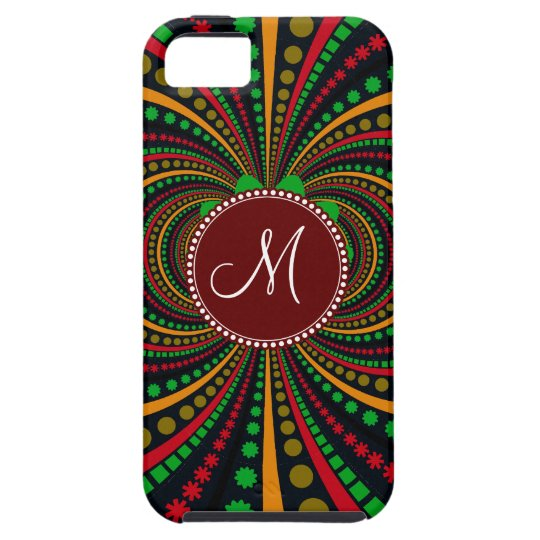 Cool Burgundy Monogram Earth Tones Funky Pattern iPhone