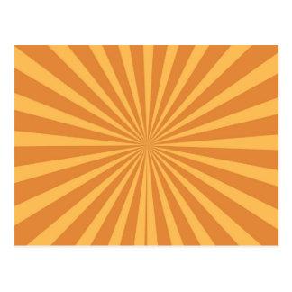 Cool Burnt Orange Starburst Fun Striped Pattern Postcard