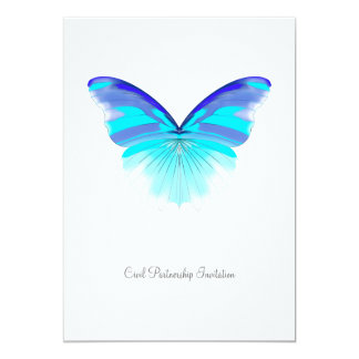 Cool Butterfly - Civil Partnership Invitation 13 Cm X 18 Cm Invitation Card