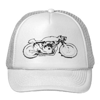 Cool Cafe Racer Motorcycle Drawing Cap