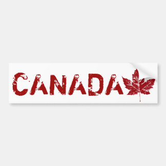 Cool Canada Bumper Sticker Distressed Maple Leaf