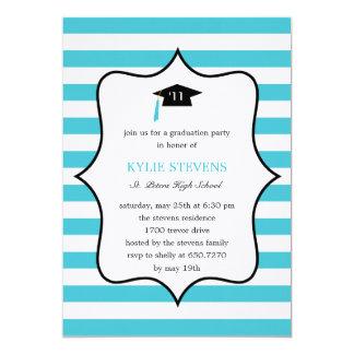 Cool Cap Graduation Invitation - Turquoise Personalized Invitation