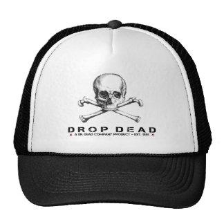 Cool Cap with Drop Dead Text and Skull Print Trucker Hats