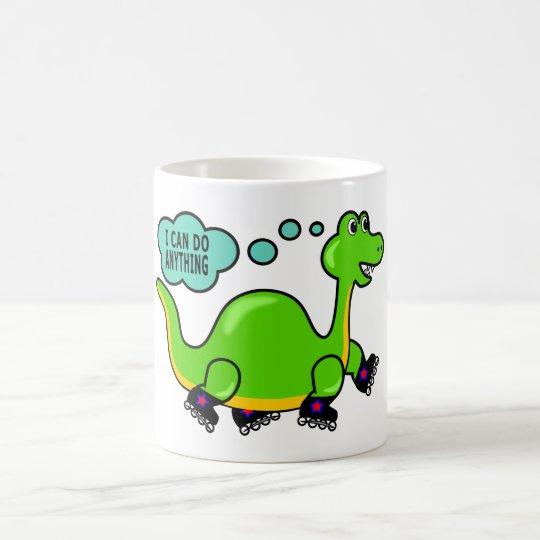 Cool Cartoon Dinosaur Skating to Success Coffee Mug