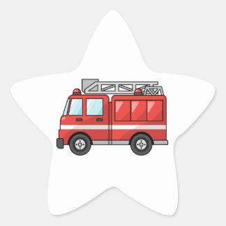 Cool Cartoon Fire Truck/Engine Star Sticker