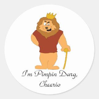 Cool Cartoon Lion Round Sticker