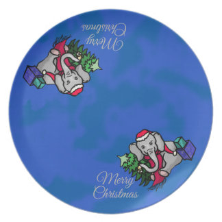 Cool Cartoon Santa Elephants Merry Christmas Plate