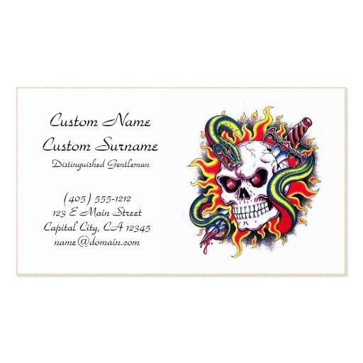 Cool cartoon tattoo burning skull snake dagger zazzle for Business card size tattoos