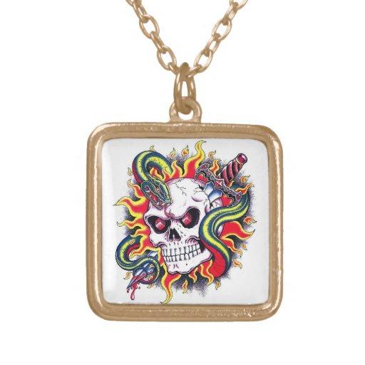 Cool cartoon tattoo burning skull snake dagger jewelry
