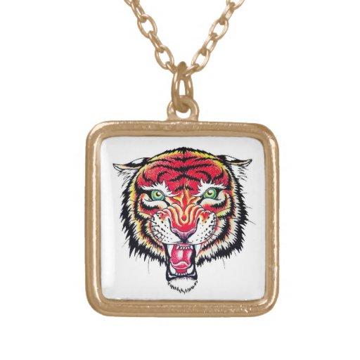 Cool cartoon tattoo symbol angry feral tiger custom jewelry
