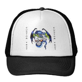 Cool cartoon tattoo symbol Blue Dragon Skull Cap