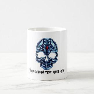 Cool cartoon tattoo symbol blue metal gothic skull basic white mug