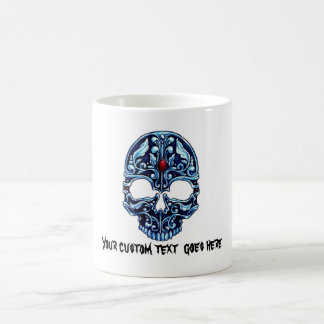 Cool cartoon tattoo symbol blue metal gothic skull coffee mug