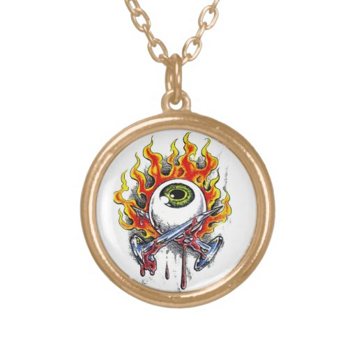 Cool cartoon tattoo symbol burning eyeball  pins pendant