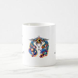 Cool cartoon tattoo symbol chinese dragon orbs basic white mug