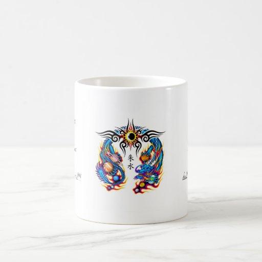 Cool cartoon tattoo symbol chinese dragon orbs mug