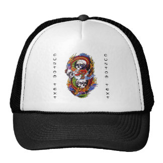 Cool cartoon tattoo symbol chinese dragon skulls cap