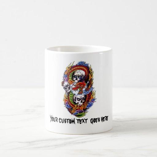 Cool cartoon tattoo symbol chinese dragon skulls coffee mugs