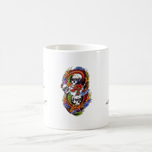 Cool cartoon tattoo symbol chinese dragon skulls mug