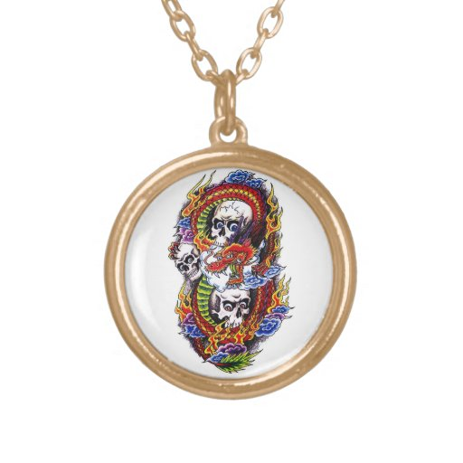 Cool cartoon tattoo symbol chinese dragon skulls personalized necklace