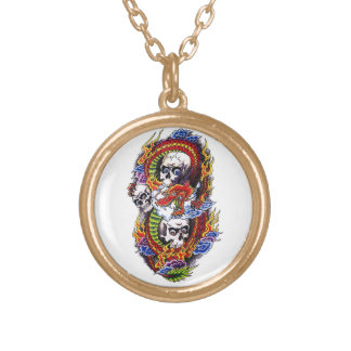 Cool cartoon tattoo symbol chinese dragon skulls round pendant necklace