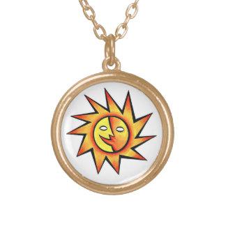 Cool cartoon tattoo symbol comic  Sun Face Necklaces