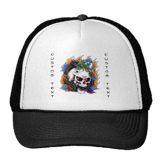 Cool cartoon tattoo symbol dragon skull flames mesh hats