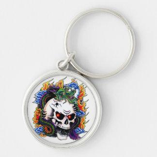 Cool cartoon tattoo symbol dragon skull flames keychains