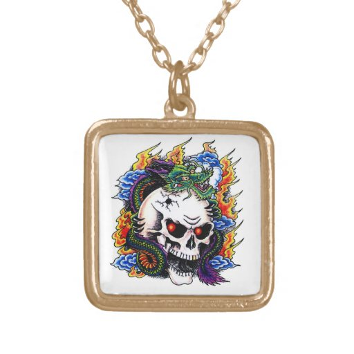 Cool cartoon tattoo symbol dragon skull flames pendant