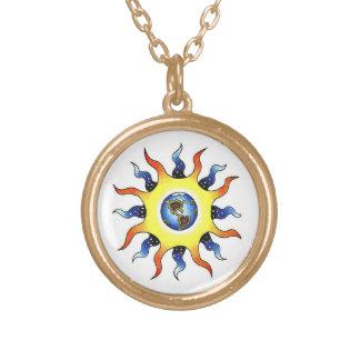 Cool cartoon tattoo symbol Earth Sun Necklaces