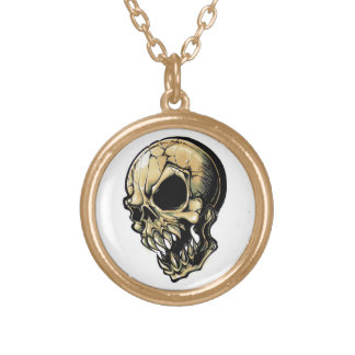 Cool cartoon tattoo symbol evil ink skull round pendant necklace