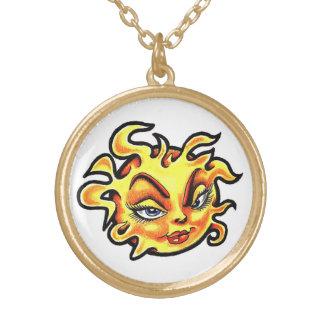 Cool cartoon tattoo symbol Female Lady Sun Pendant