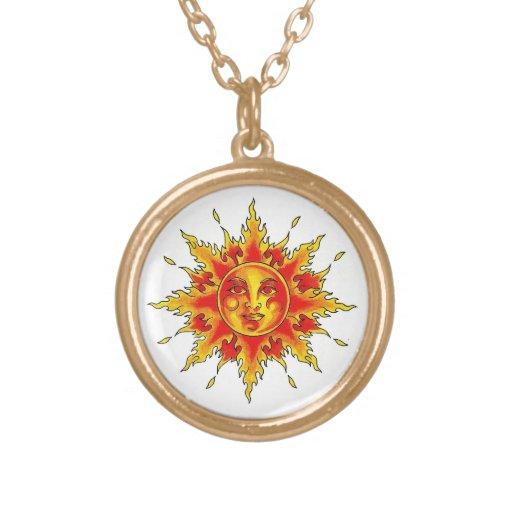 Cool cartoon tattoo symbol female Sun face Necklace