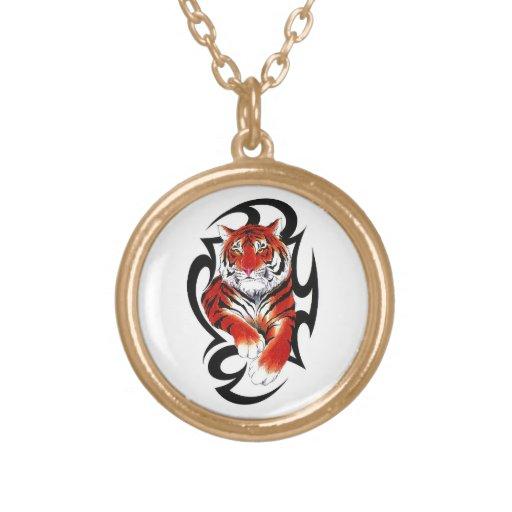 Cool cartoon tattoo symbol feral Tribal Tiger Pendant
