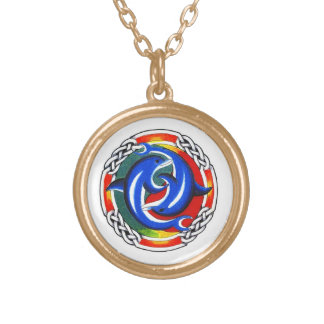 Cool cartoon tattoo symbol  gemini dolphin twin pendant