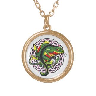 Cool cartoon tattoo symbol green lizard tribal pendant