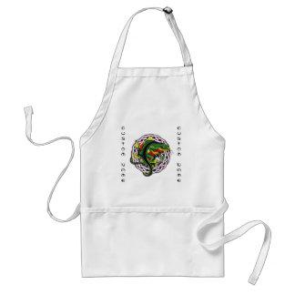 Cool cartoon tattoo symbol green lizard tribal standard apron