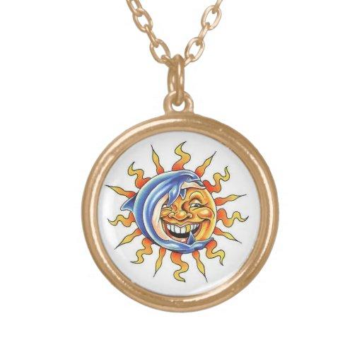 Cool cartoon tattoo symbol happy Sun face Dolphin Necklace