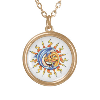 Cool cartoon tattoo symbol happy Sun face Dolphin Round Pendant Necklace