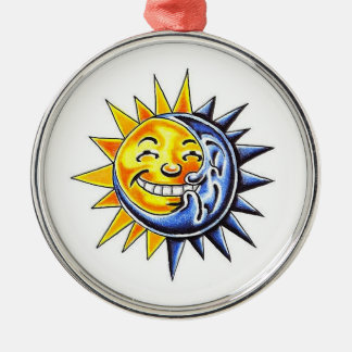 Cool cartoon tattoo symbol happy sun moon face Silver-Colored round decoration