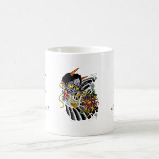Cool cartoon tattoo symbol japanese demon flower basic white mug