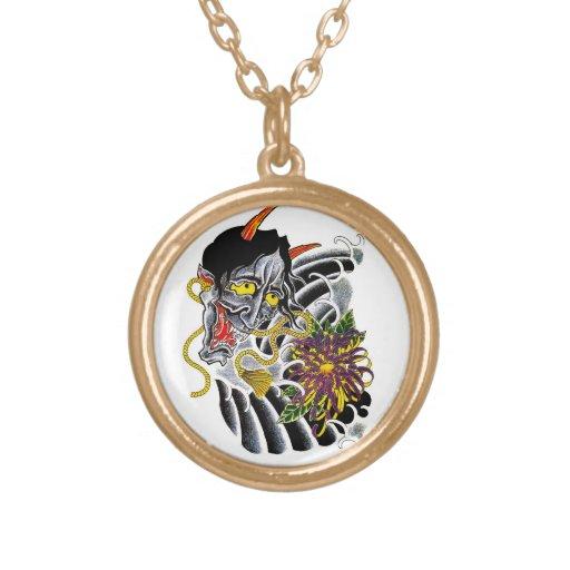 Cool cartoon tattoo symbol japanese demon flower jewelry