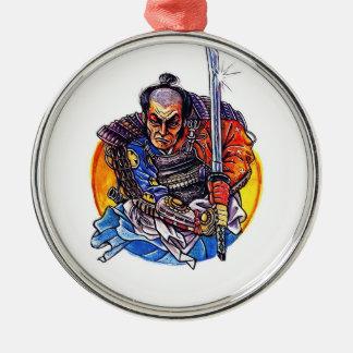 Cool cartoon tattoo symbol japanese Samurai Katana Silver-Colored Round Decoration