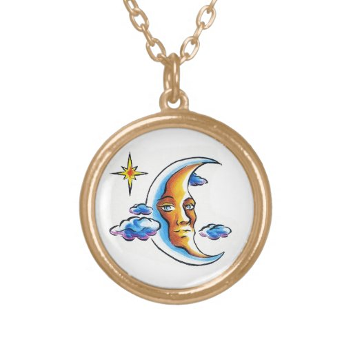 Cool cartoon tattoo symbol Moon face star clouds Necklaces