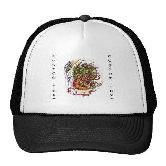 Cool cartoon tattoo symbol oriental Dragon Cap