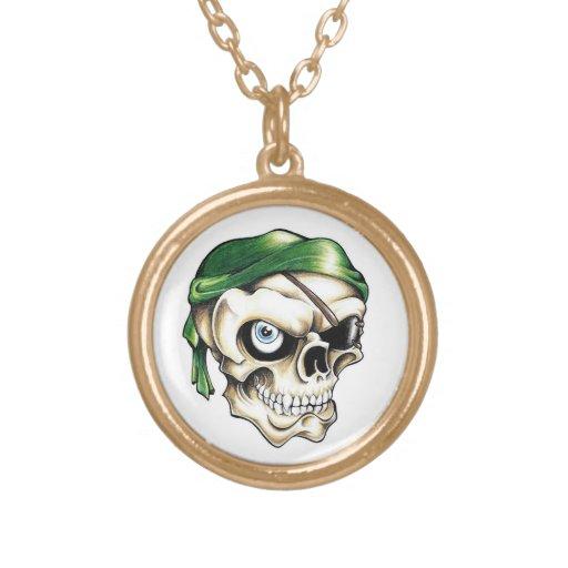 Cool cartoon tattoo symbol pirate skull bandana personalized necklace