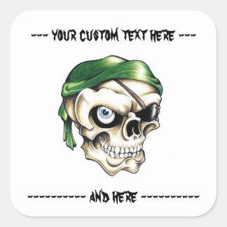 Cool cartoon tattoo symbol pirate skull bandana square sticker
