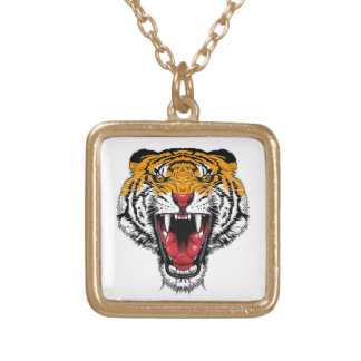 Cool cartoon tattoo symbol roaring feral tiger square pendant necklace