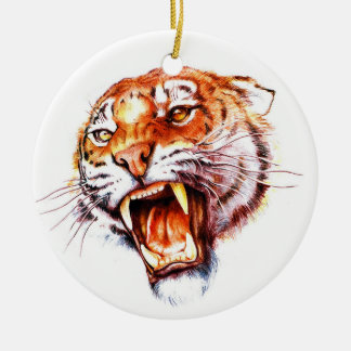 Cool cartoon tattoo symbol roaring tiger head christmas ornament