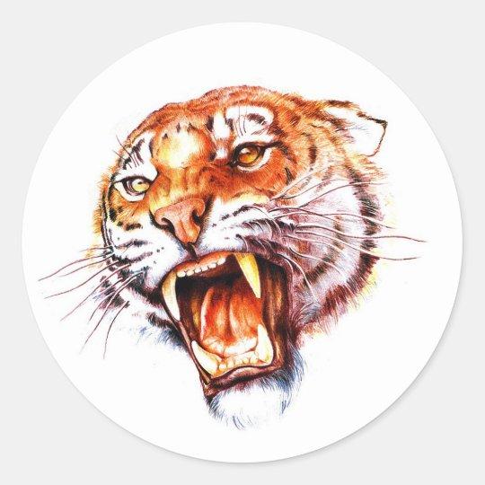 Cool cartoon tattoo symbol roaring tiger head classic